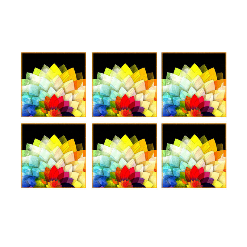 Leaf Designs Multicoloured Lotus Coaster - Set Of 6