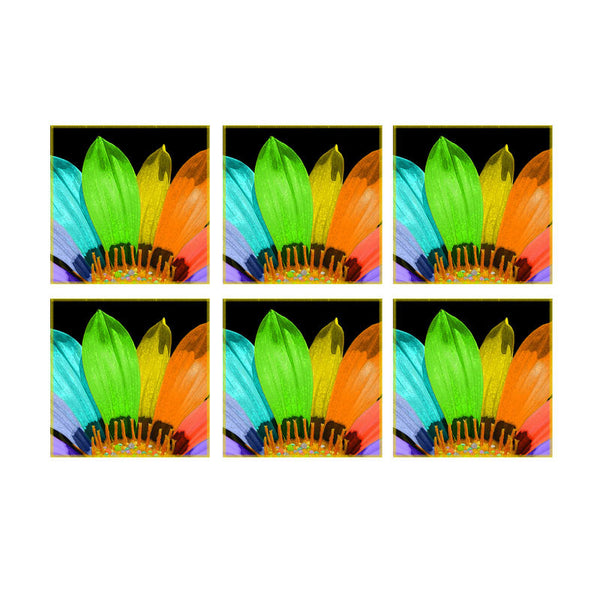 Leaf Designs Multicoloured Flower Coaster - Set Of 6