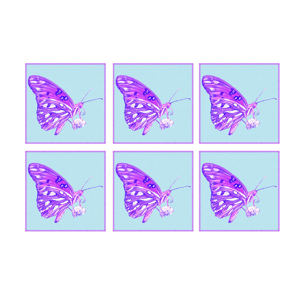 Leaf Designs Purple And Blue Butterfly Coaster - Set Of 6