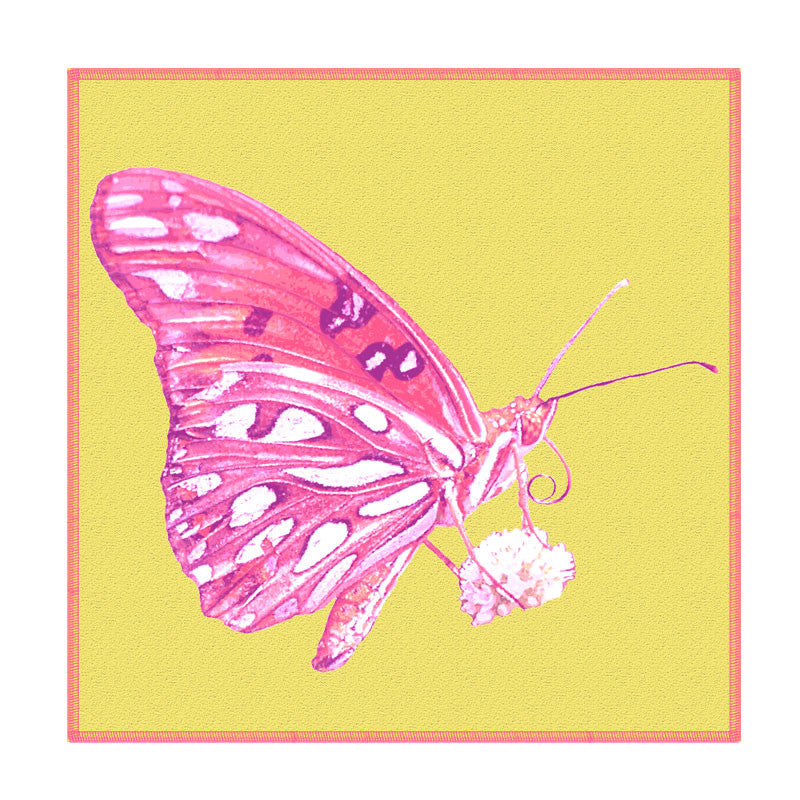 Leaf Designs Pink And Yellow Butterfly Coaster - Set Of 6