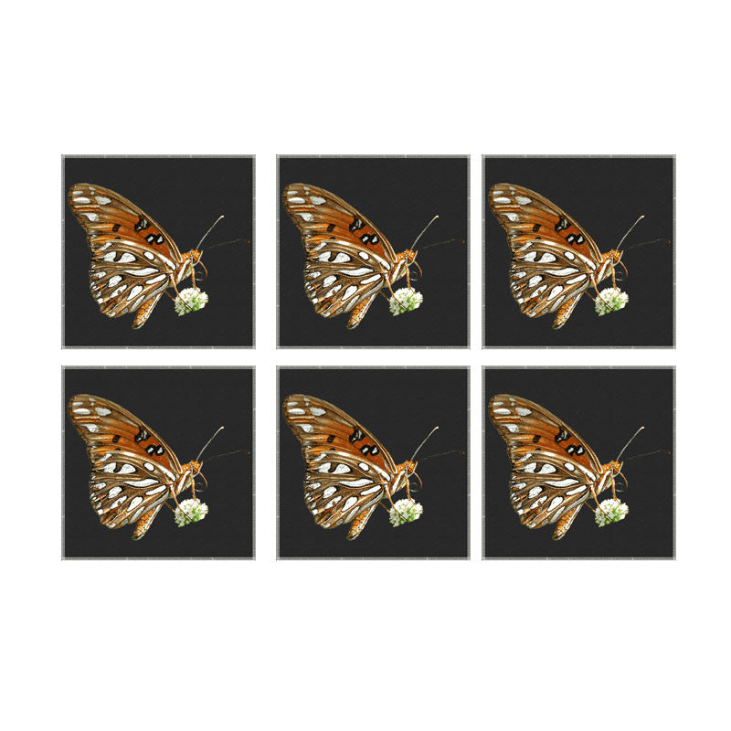 Leaf Designs Brown And Black Coaster - Set Of 6