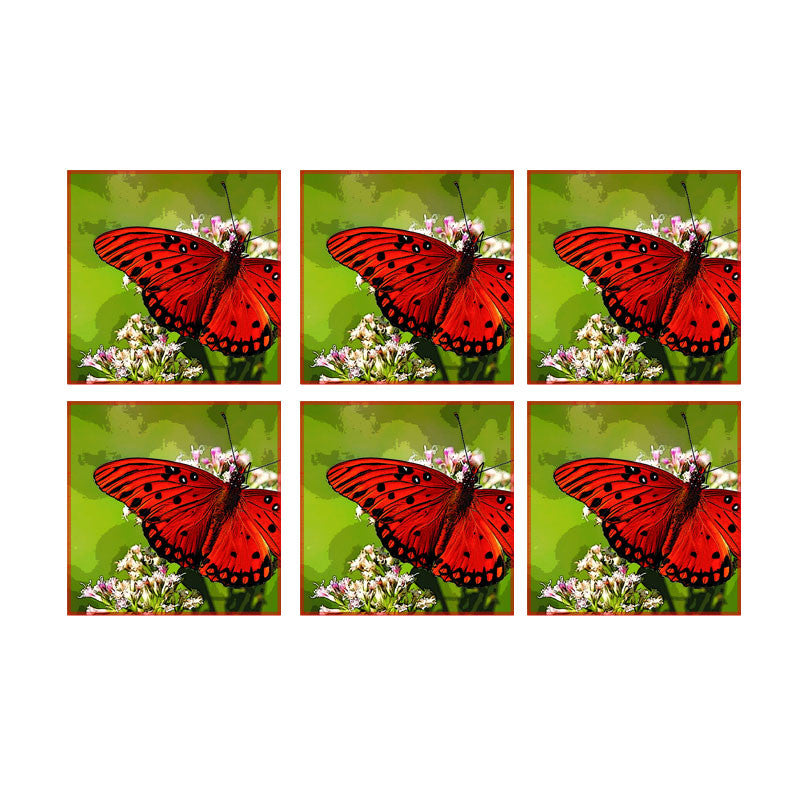 Leaf Designs Red Dotted Butterfly Coaster - Set Of 6