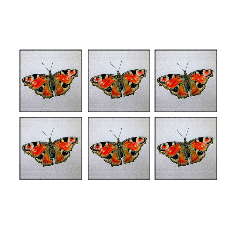 Leaf Designs Red And Black Butterfly Coaster - Set Of 6