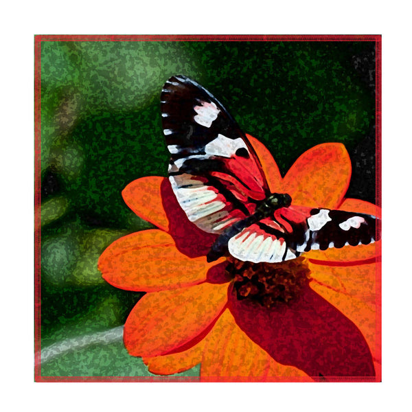 Leaf Designs Butterfly On Red Flower Coaster - Set Of 6