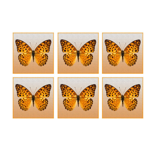 Leaf Designs Shaded Butterfly Coaster - Set Of 6