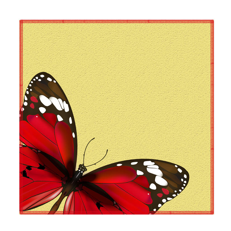 Leaf Designs Red And Lemon Butterfly Coaster - Set Of 6