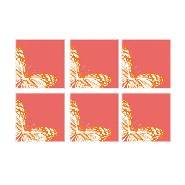 Leaf Designs Peach And Orange Coaster - Set Of 6
