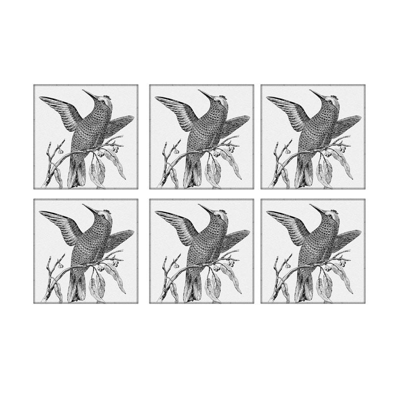 Leaf Designs Black And White Bird On A Branch Coaster - Set Of 6