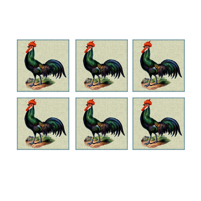Leaf Designs Green Rooster Coaster - Set Of 6