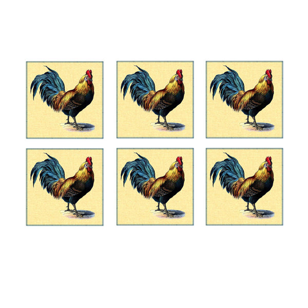 Leaf Designs Yellow Rooster Coaster - Set Of 6