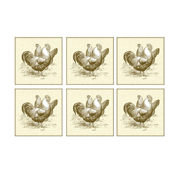Leaf Designs Monotone Rooster Coaster - Set Of 6