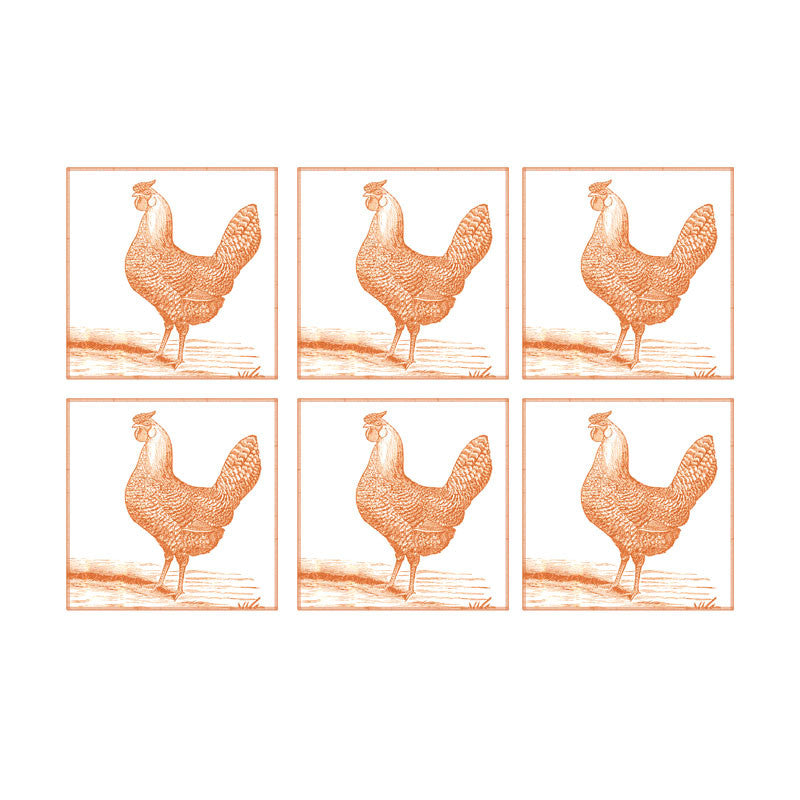 Leaf Designs Peach Rooster Coaster - Set Of 6