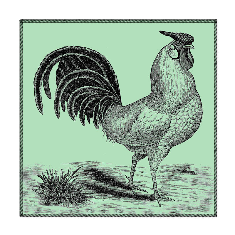 Leaf Designs Green Tone Rooster Coaster - Set Of 6