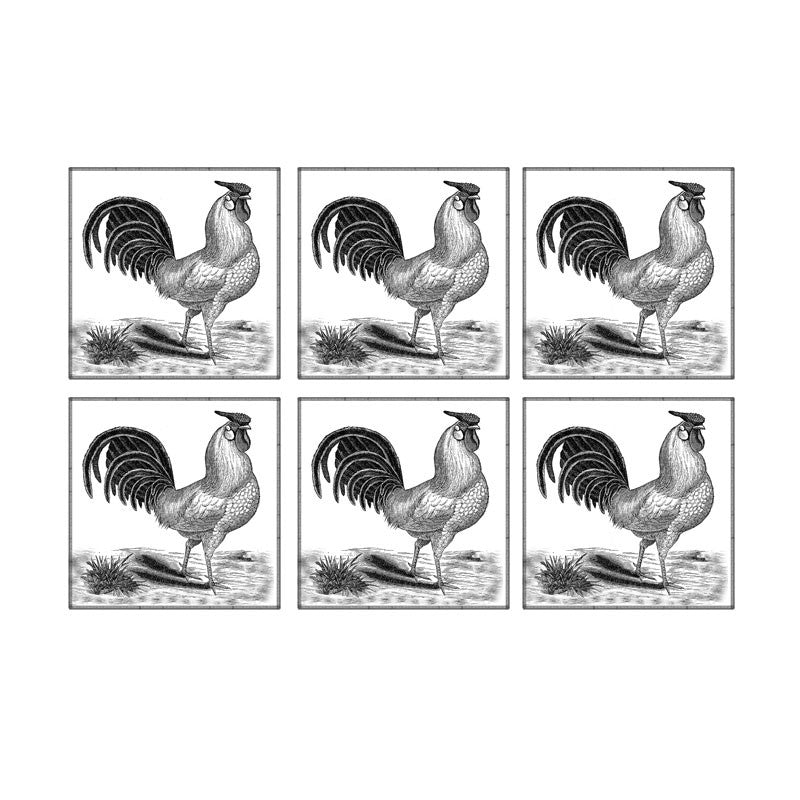 Leaf Designs Grey Rooster Coaster - Set Of 6