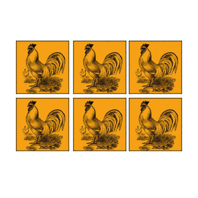 Leaf Designs Orange Rooster Coaster - Set Of 6