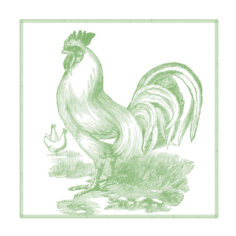 Leaf Designs Monochromatic Green Rooster Coaster - Set Of 6