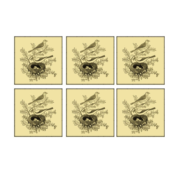 Leaf Designs Beige Bird Coaster - Set Of 6