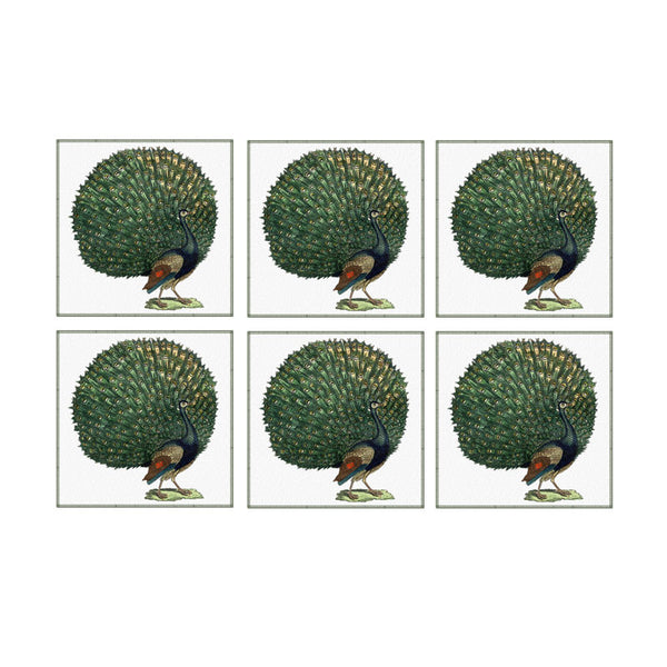 Leaf Designs Dancing Peacock Coaster - Set Of 6