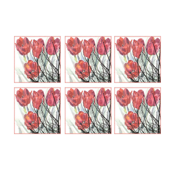 Leaf Designs Red Floral Coaster - Set Of 6