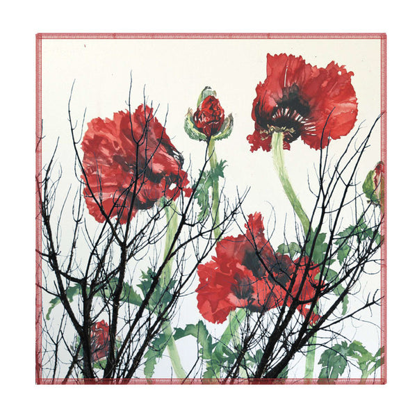 Leaf Designs Red And Green Floral Coaster (A) - Set Of 6