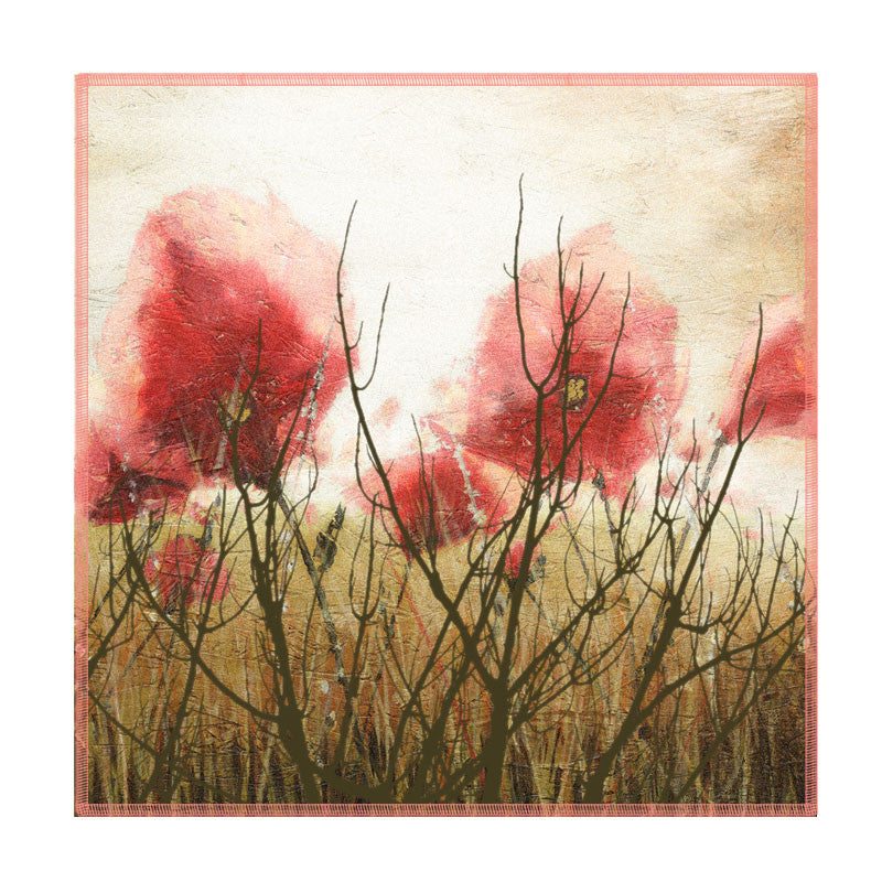 Leaf Designs Misty Red Floral Coaster - Set Of 6