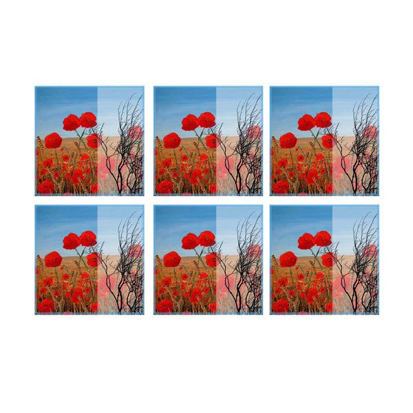 Leaf Designs Cloudy Red Floral Coaster - Set Of 6
