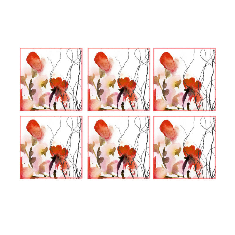 Leaf Designs Red Watercolour Floral Coaster - Set Of 6