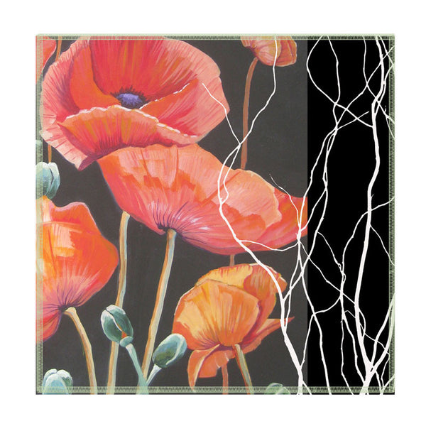 Leaf Designs Black And Red Floral Coaster - Set Of 6