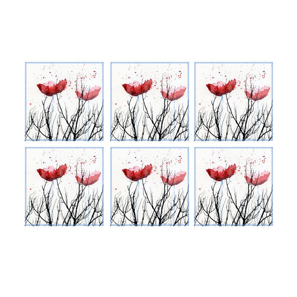 Leaf Designs Black Stems And Red Floral Coaster - Set Of 6