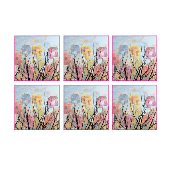 Leaf Designs Multicoloured Cloudy Floral Coaster - Set Of 6