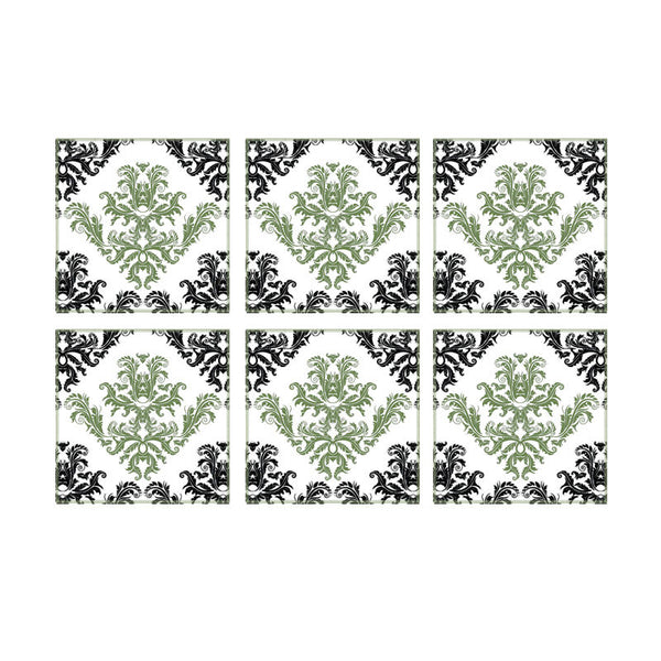 Leaf Designs Black And Green Floral Pattern Coaster - Set Of 6