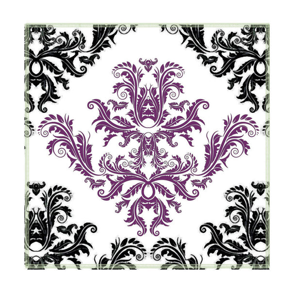 Leaf Designs Black And Purple Coaster - Set Of 6
