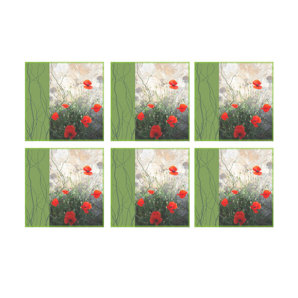 Leaf Designs Green Band Floral Coaster - Set Of 6
