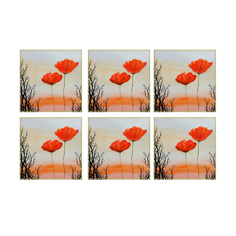 Leaf Designs Sunset And Red Floral Coaster - Set Of 6