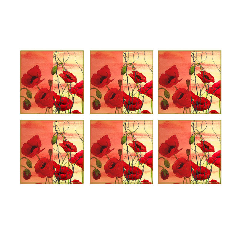Leaf Designs Orange And Red Floral Coaster - Set Of 6