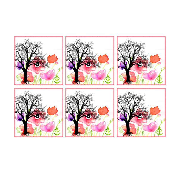 Leaf Designs Tree And Multicoloured Floral Coaster - Set Of 6