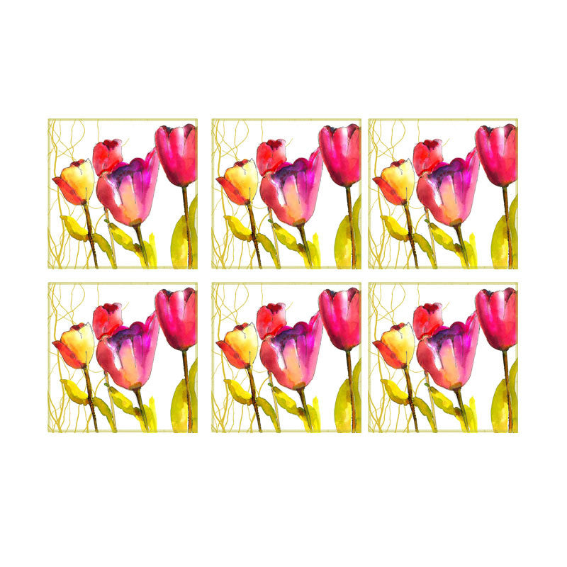 Leaf Designs Multicoloured Floral Coaster - Set Of 6