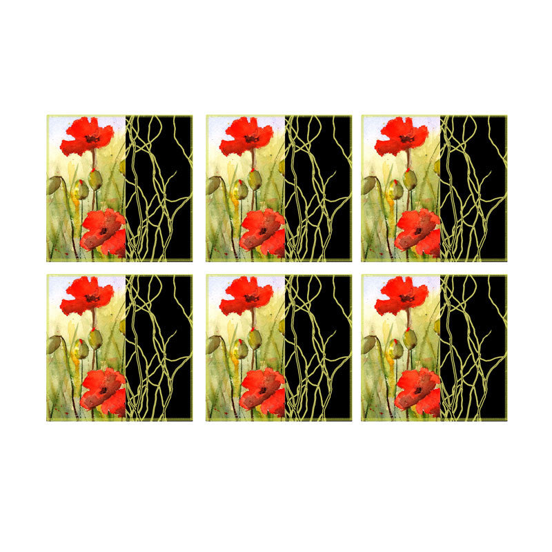 Leaf Designs Black Band And Red Floral Coaster - Set Of 6
