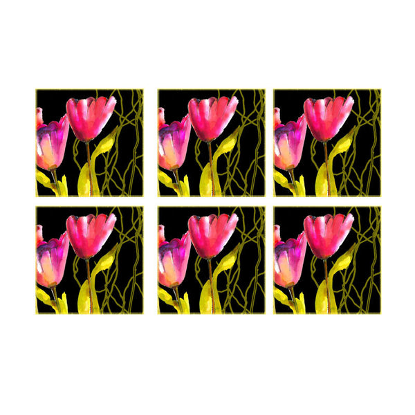 Leaf Designs Black And Pink Floral Coaster - Set Of 6