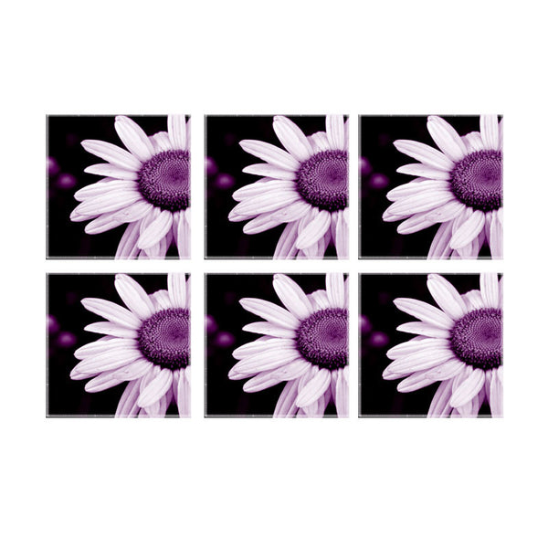 Leaf Designs Purple Daisy Coaster - Set Of 6