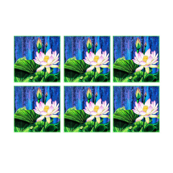 Leaf Designs Blue And Green Floral Coaster - Set Of 6
