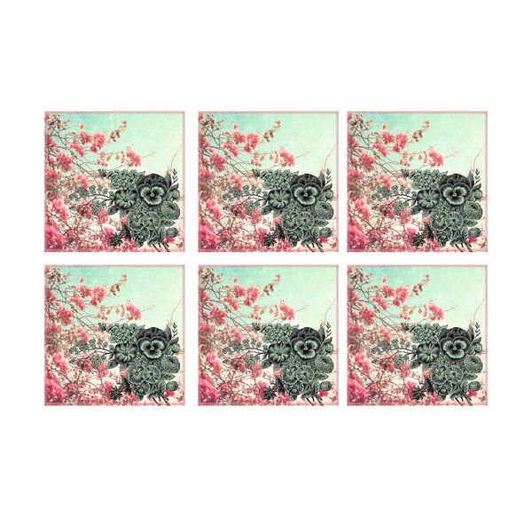 Leaf Designs Pink Blossoms Floral Coaster - Set Of 6