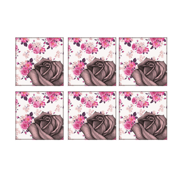 Leaf Designs Vintage Pink Rose Coaster - Set Of 6