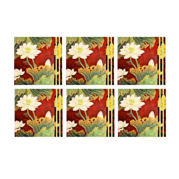 Leaf Designs Red And Green Floral Coaster (B)- Set Of 6