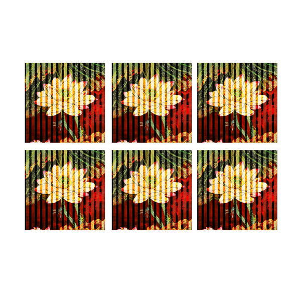 Leaf Designs Red And Green Floral Stripe Coaster - Set Of 6