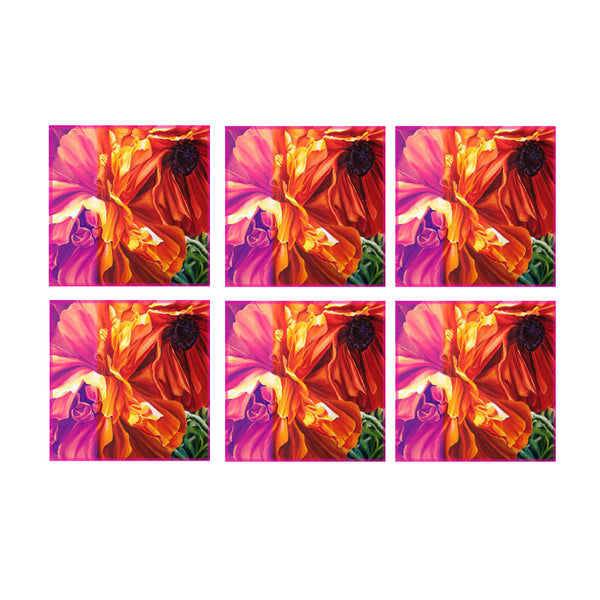 Leaf Designs Multicoloured Hues Floral Coasters (A) - Set Of 6