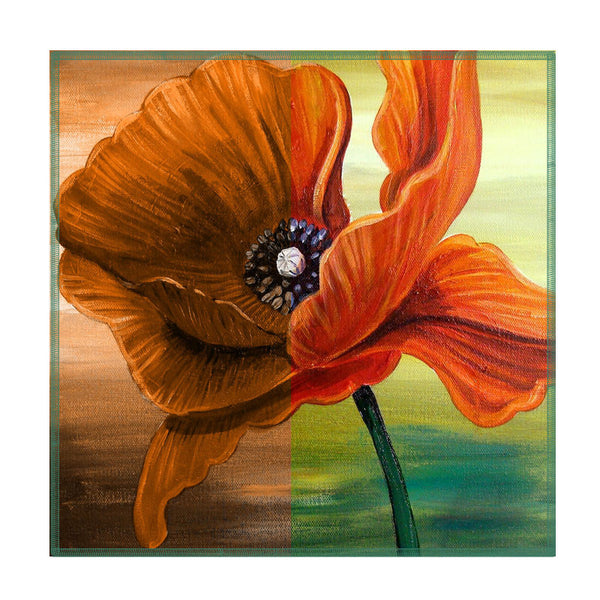 Leaf Designs Orange Floral Coasters - Set Of 6