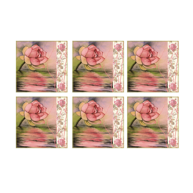 Leaf Designs Pink Rose Coasters - Set Of 6