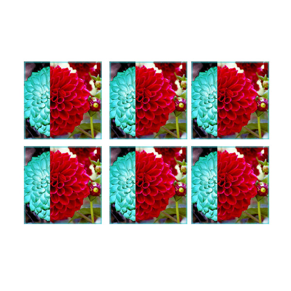 Leaf Designs Red & Light Blue Floral Coasters - Set Of 6