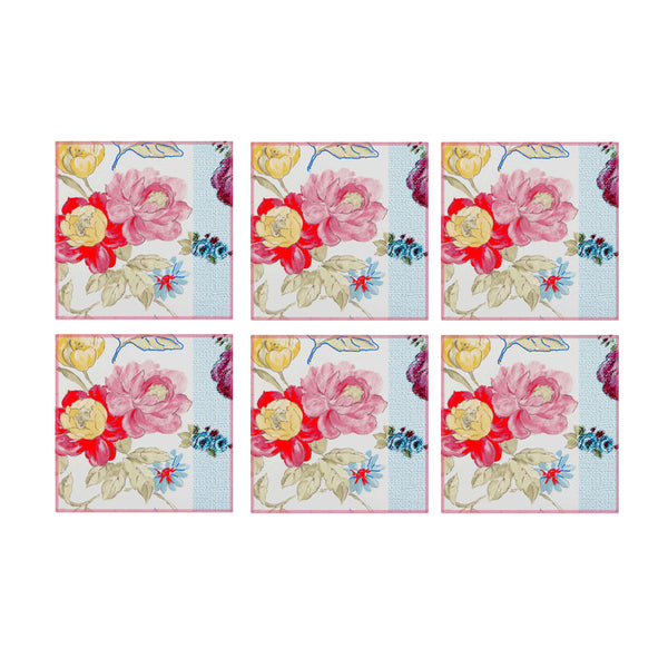 Leaf Designs Multicoloured Hues Floral Coasters (B) - Set Of 6